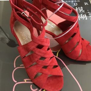 Lord & Taylor Suede Heeled Sandals Red siz…